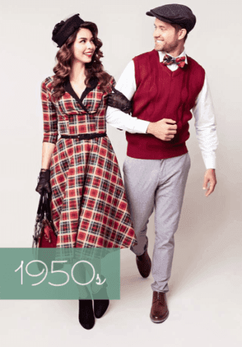Two people wearing vintage costumes from the 1950s
