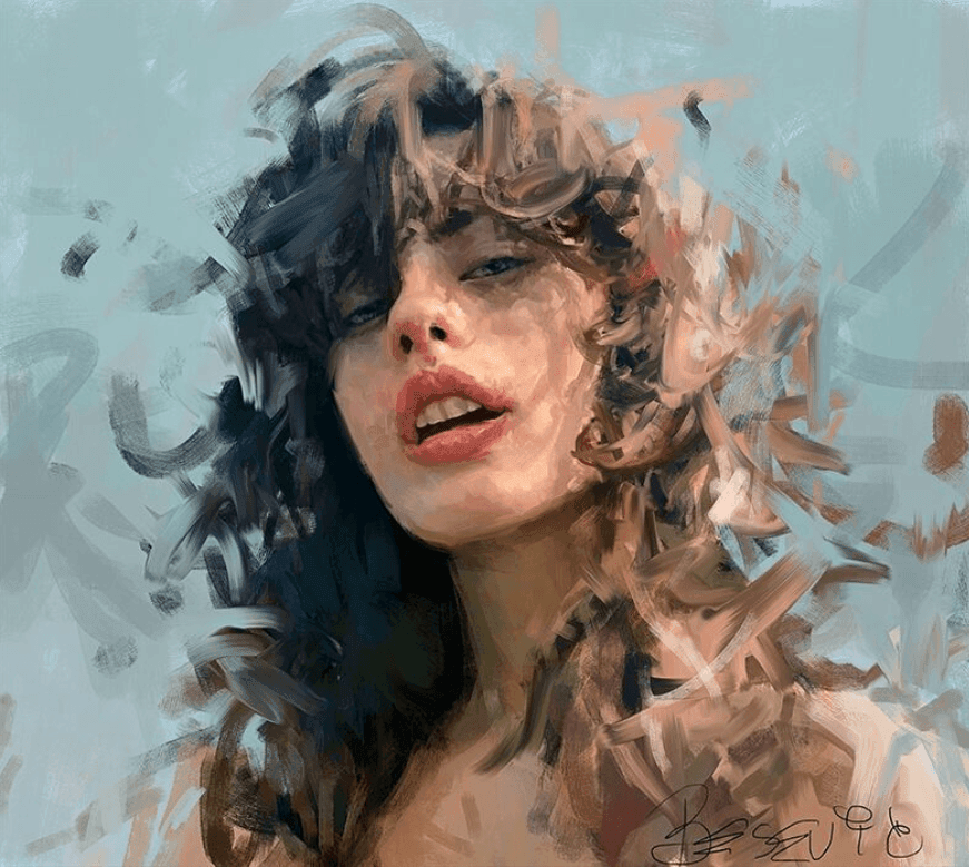 A digital painting of a woman
