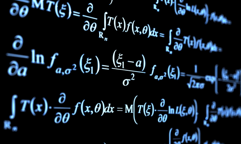 Close-up of differential equations and formulas