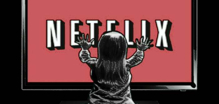 Illustration of a child with both hands on a television screen that shows the Netflix logo on it.