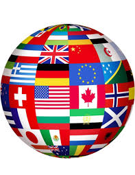 Picture of a globe filled with flags of countries around the world