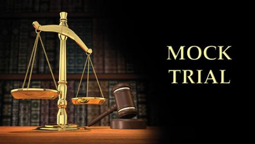 "A justice scale with the words ""Mock Trial"" next to it"