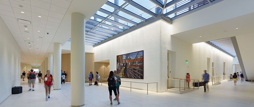 picture of a white walled museum area