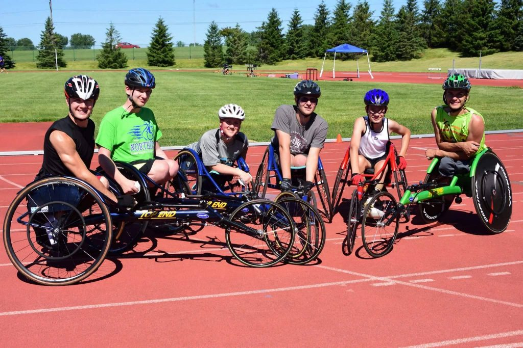 Physically challenged athletes on a track