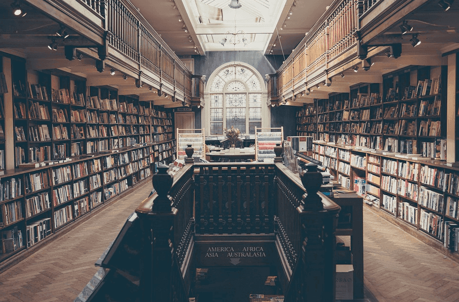 a photo of a library filled with books