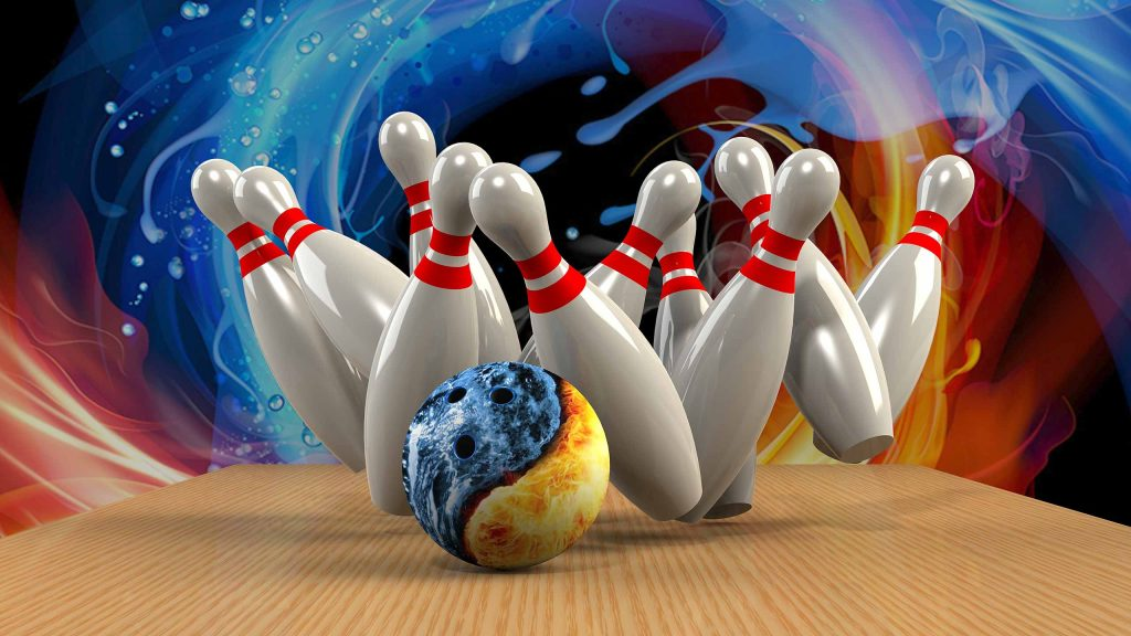 An image of a bowling ball crashing into pins