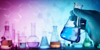 Chemicals in beakers and chemical bonds