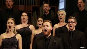 Group picture of a choir singing