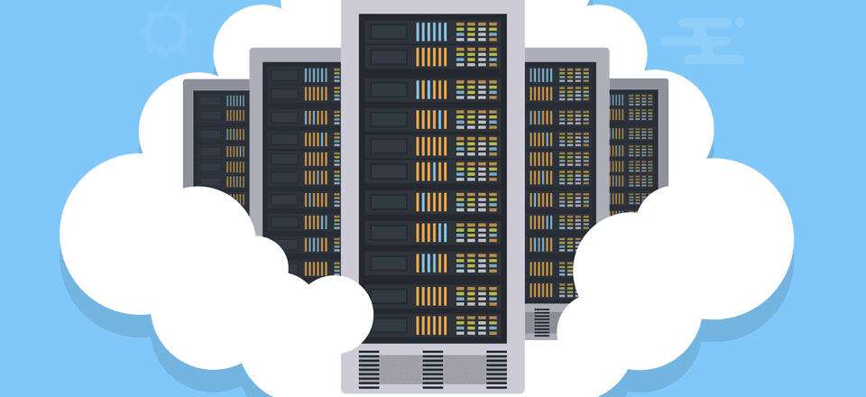 Cartoon of servers used in a cloud