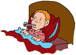 cartoon picture of boy sick inu bed with thermostat in mouth