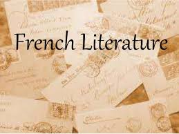 Picture of old letters in the background with french literature written on top