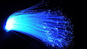 This image of fiber optics in a blue  colour