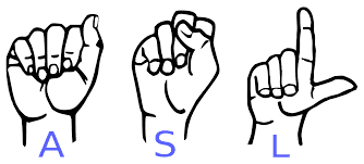 cartoon presenting hand signals that spell ASL, American Sign Language.