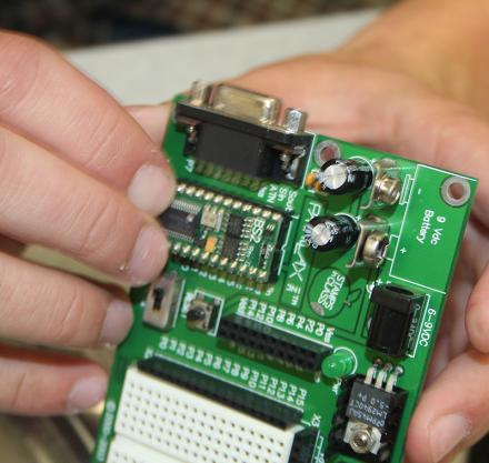 A sample of a computer board from a class in electronic engineering.