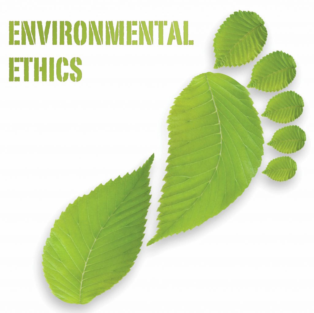 A poster written ENVIRONMENTAL ETHICS with a footprint done in leaves