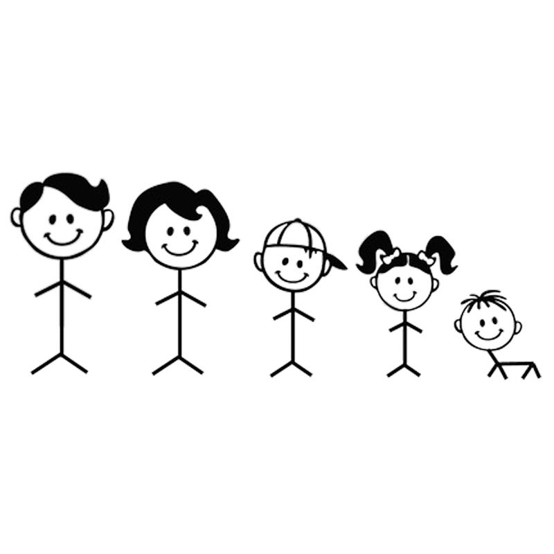 Stick figure drawing of a family