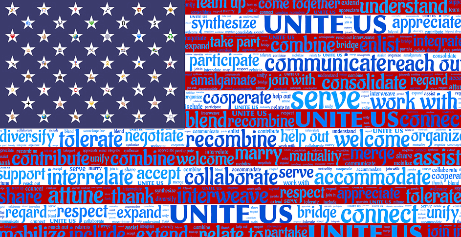 flag of america with multiple ideas written over it