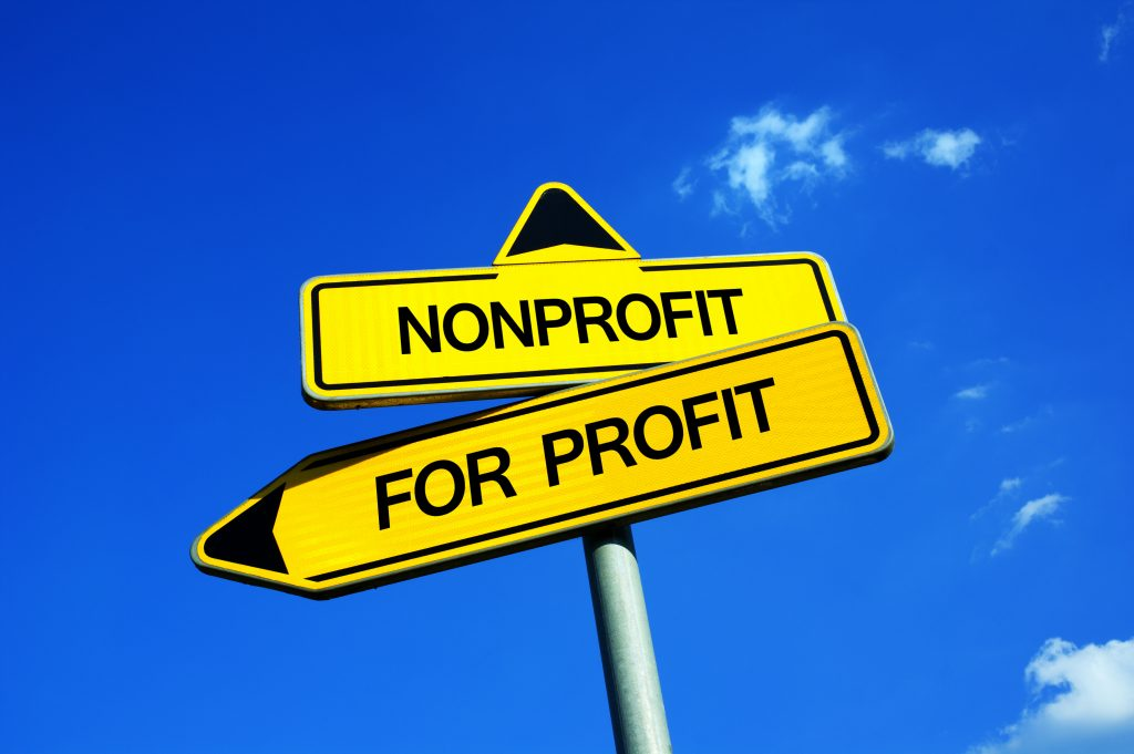 sign with non profit and for profit
