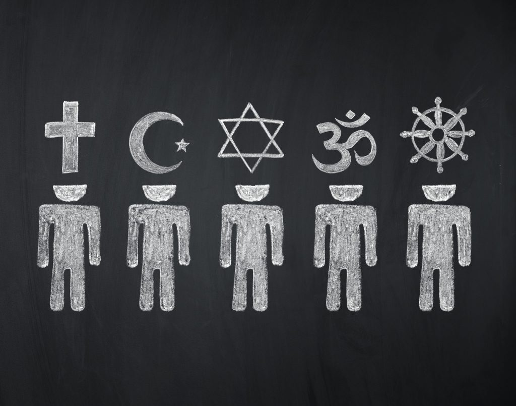 Blackboard drawing of different symbols in world religions.