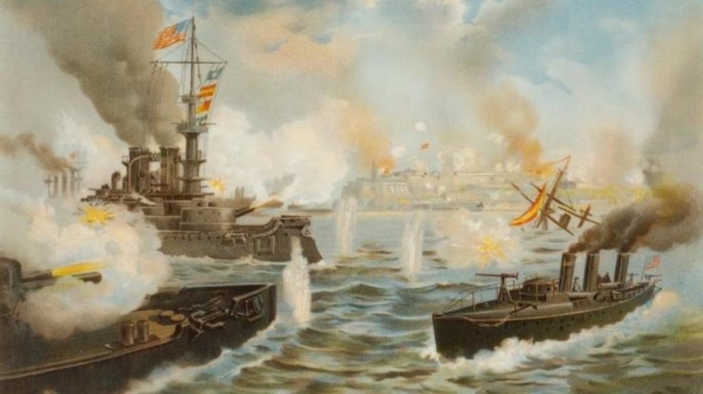 Painting of the US navy fight against the Spanish navy during the war that helped Puerto Rico gain independence.