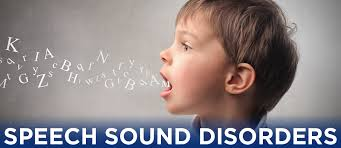 An image of a child uttering some words with letters coming out and the title speech sound disorders