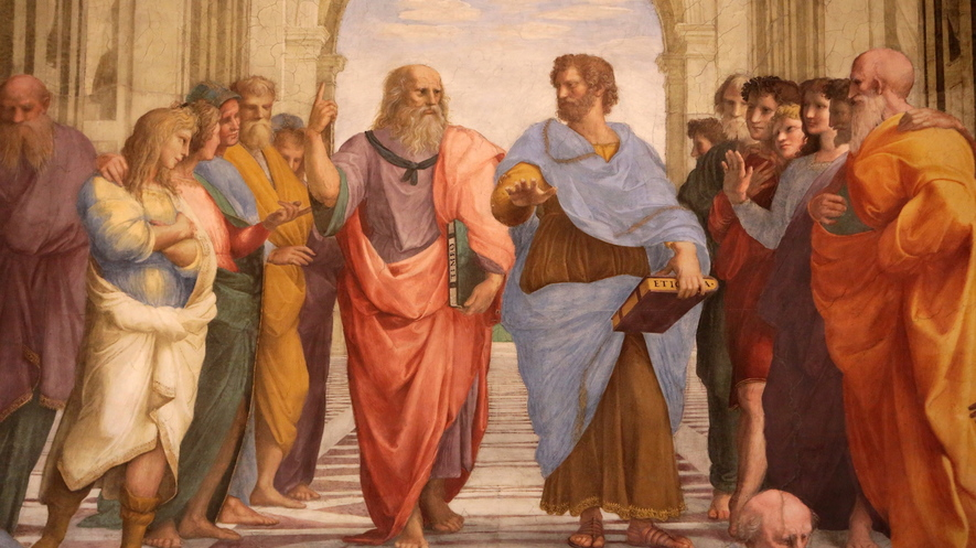 "Painting of Plato talking with Aristotle in ""The School of Athens""."