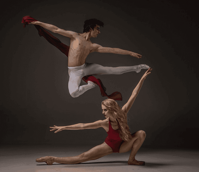 male and female performing ballet