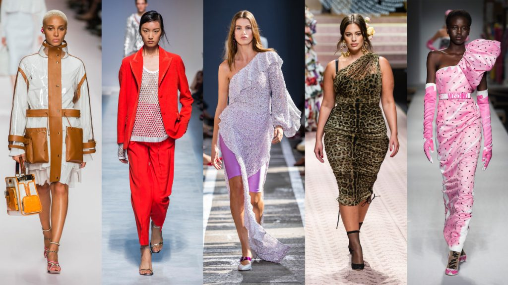 Models walking on a runway