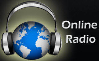 A poster written Online Radio with a headphone set on a globe