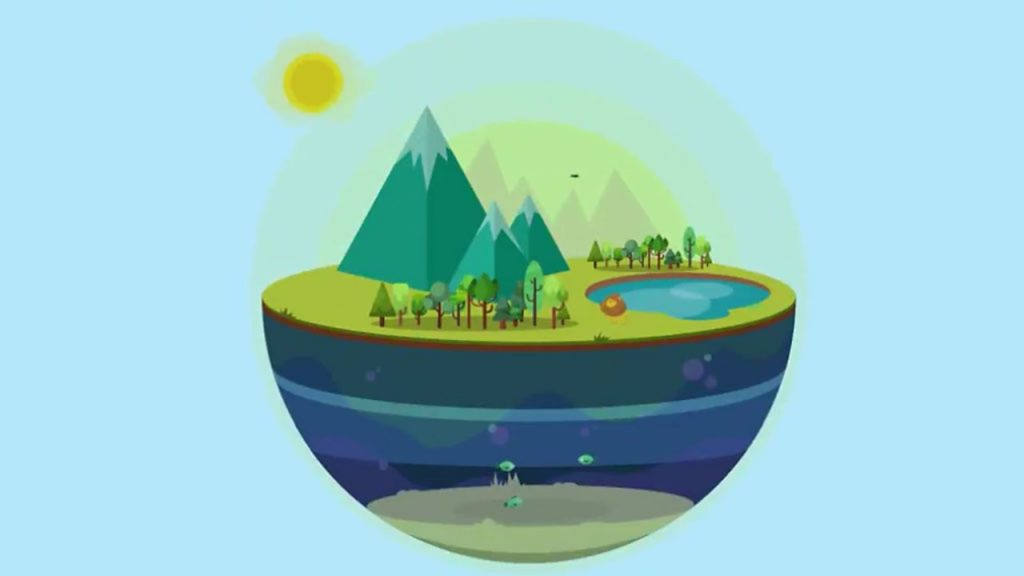 A cartoon of an ecosystem in a sphere