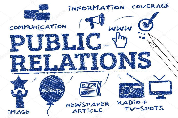 A poster written PUBLIC RELATIONS with icons representing all the other aspects of public relations