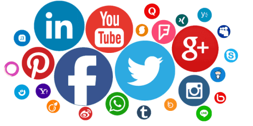 Illustration of various social media icons and logos.