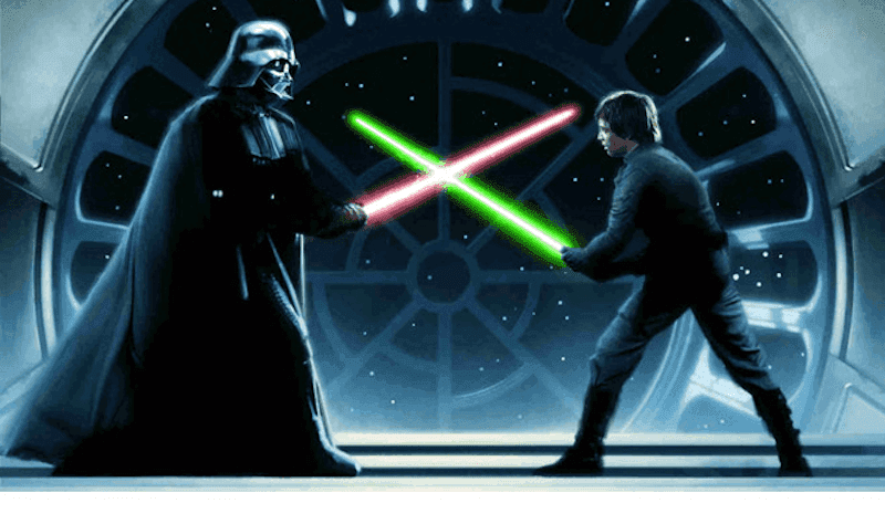 Picture of a Star wars lightsaber fight between Darth Vader and Luke.