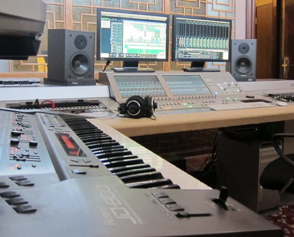 Equipment in a music production studio