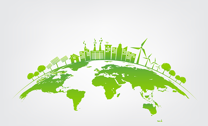 A green Earth design featuring trees, windmills and other green technology