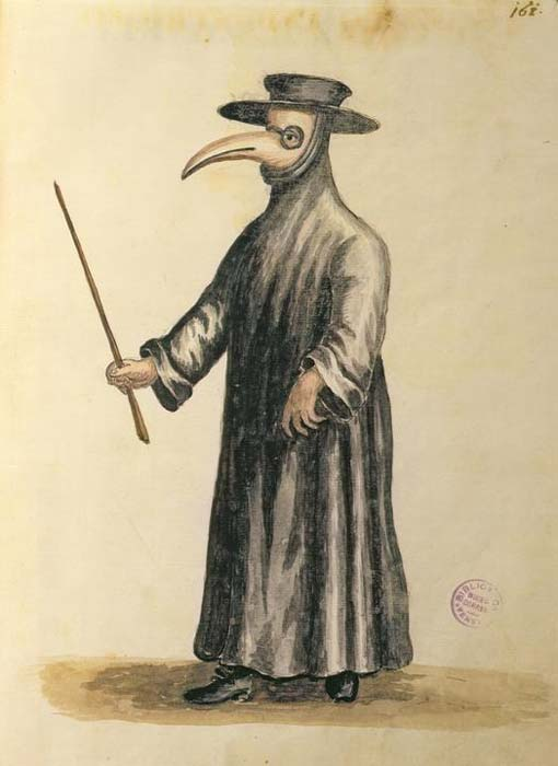 "Painting of a witch doctor, who were called on in the Dark Ages of Europe to ""treat"" Bubonic Plague patients - often doing more harm than good."