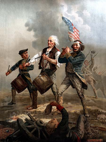 Historical painting of men playing music on a warfield