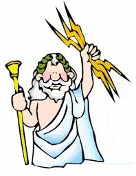 Cartoon of Zeus, the god of the skies in Greek mythology.