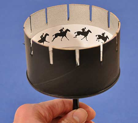 The zoetrope, a device that emulated animation by rotating images on a cylinder quickly enough to trick the eye into thinking it was a moving object, was invented in 1834.