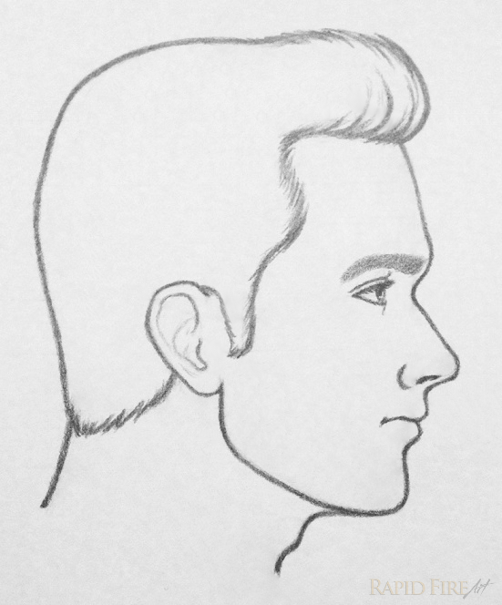 A pencil drawing of a man's profile