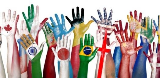 This is an illustration of hands painted with national flags on them.