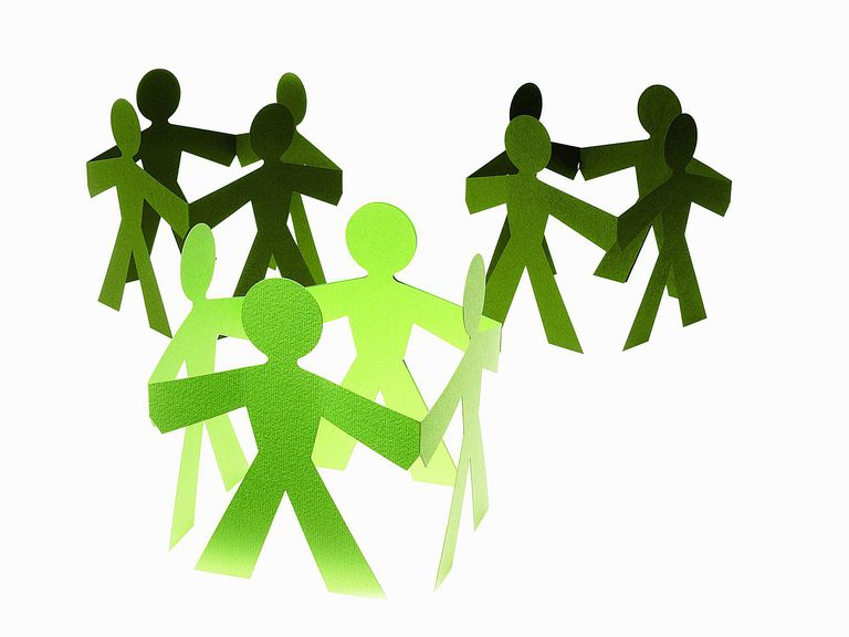 groups together in a circle represented by paper cut men
