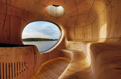 a building completely made out of wood