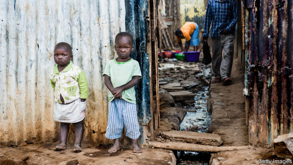 Two children living in extreme poverty.