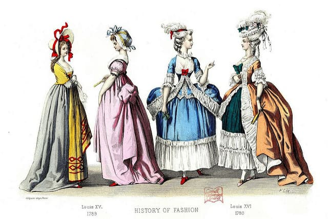 Women dressed in old-fashioned clothes and assessories