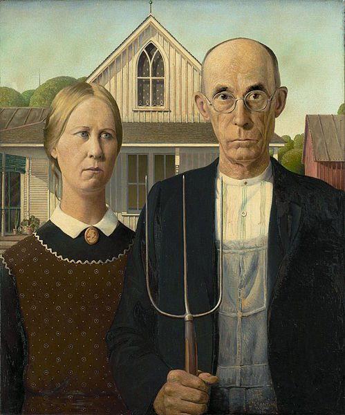 famous american gothic painting of couple with pitchfork