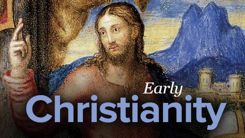 A poster written Early Christianity with a picture of Jesus on it