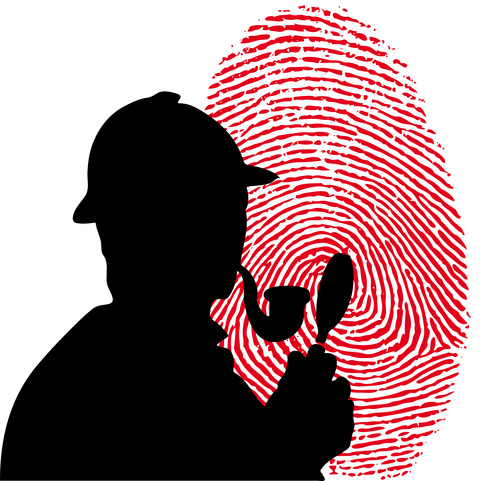 a silhouette of a detective with a magnifying glass and a pipe with a red fingerprint in the background.