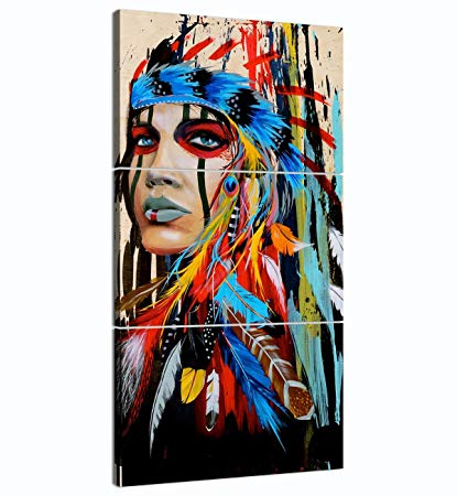 a colorful painting of a native american