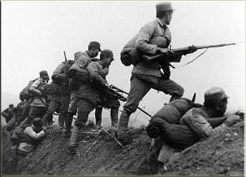 Army troops in a battle zone